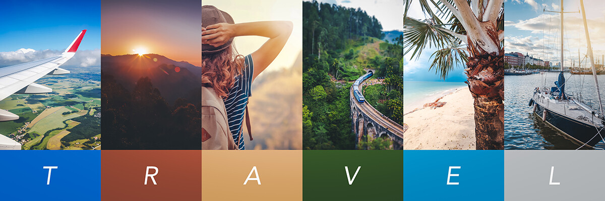 Travel concept background. Summer concept.  Header format with c